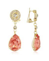 AZ Collection - Metallic Orange Clip-on Drop Earrings - Lyst