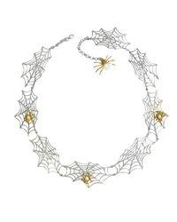 Bernard Delettrez   Metallic Bronze Spiders On Silver Web Necklace   Lyst
