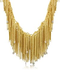 Orlando Orlandini | Metallic Flirt - Diamond Drops 18k Yellow Gold Thread Necklace | Lyst