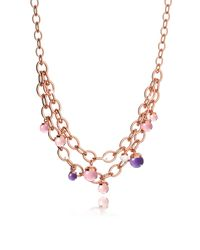 Rebecca - Metallic Hollywood Stone Rose Gold Over Bronze Chains Necklace W/hidrothermal Stones - Lyst