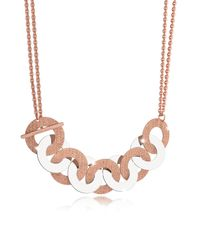 Rebecca - Pink R-zero Rose Gold Over Bronze And Steel Maxi Chain Necklace - Lyst