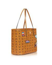 MCM - Brown Anya Victory Patch Visetos Cognac Top Zip Medium Tote Bag - Lyst