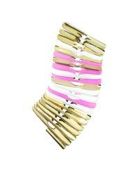 Pluma - Metallic Gold White And Pink Fishbone Bangle - Lyst