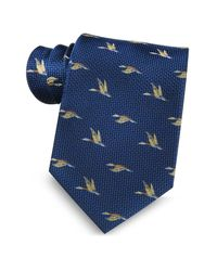 Marina D'este - Blue Flying Duck Woven Silk Tie for Men - Lyst
