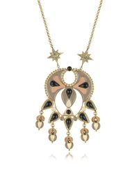 Roberto Cavalli - Metallic Gold-tone And Enamel W/multicolor Crystals Long Necklace - Lyst