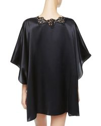 La Perla - Petite Macrame Wide & Short Black Satin Silk Night Robe - Lyst
