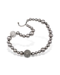 AZ Collection - Gray Mirror Polished Ball Necklace - Lyst