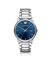 Emporio Armani - Metallic Wrist Watch for Men - Lyst