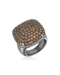 Azhar | Black Cubic Zirconia Sterling Silver Square Cocktail Ring | Lyst