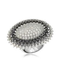 Azhar | Metallic Black And White Sterling Silver Oval Ring | Lyst