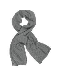 Armani Jeans   Gray Cable Knit Wool Blend Long Scarf   Lyst