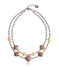 Antica Murrina | Natural Millerighe 2 Double - Pastel Multicolor Murano Glass W/stripes And Gold Leaf Choker | Lyst