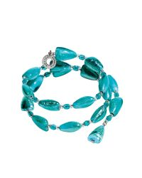 Antica Murrina | Blue Marina 1 Rigido - Turquoise Green Murano Glass And Silver Leaf Bracelet | Lyst