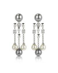AZ Collection | Metallic Glass Pearl Drops Clip On Earrings | Lyst