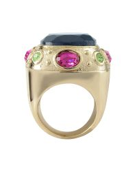AZ Collection - Metallic Large Crystal Stone Ring - Lyst