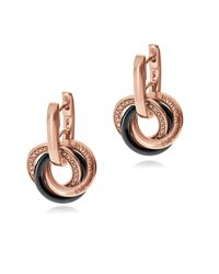 Emporio Armani - Pink Pvd Plated Sterling Silver And Crystals Earrings - Lyst