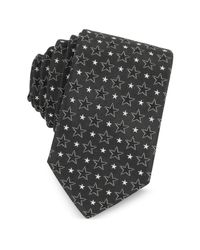 Givenchy - Black And White Multi Stars Printed Silk Narrow Tie for Men - Lyst
