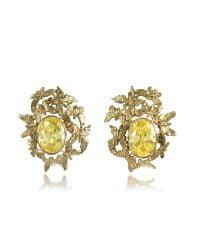 Bernard Delettrez | Metallic Butterflies Bronze Earrings W/yellow Zircons | Lyst