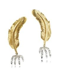 Bernard Delettrez - Metallic Bronze Feather W/silver Claw Earrings - Lyst