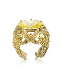 Bernard Delettrez | Metallic Bronze Dome Ring W/butterflies And Yellow Cubic Zirconia | Lyst