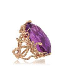 Bernard Delettrez - Metallic Medusa Rose Gold W/dark Violet Amethyst Medusa Ring - Lyst