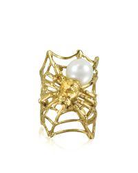 Bernard Delettrez   Metallic Web And Spyder Bronze Ring W/pearl   Lyst