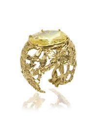Bernard Delettrez - Metallic Bronze Dome Ring W/butterflies And Yellow Cubic Zirconia - Lyst