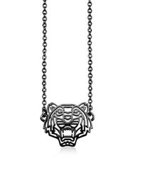KENZO | Metallic Ruthenium Plated Sterling Silver Cut Out Tiger Necklace W/crystal | Lyst
