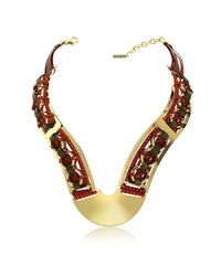 Pluma - Metallic Brass Woven Leather Necklace In Gold Burgundy And Brown - Lyst