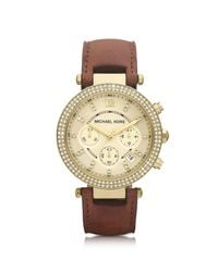 Michael Kors - Brown Mid-size Parker Chronograph Glitz Watch - Lyst