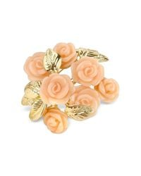 AZ Collection - Orange Pink Roses Gold Plated Brooch - Lyst