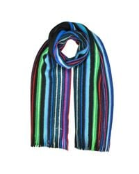 Paul Smith - Black Neon Stripe Merino Wool Men's Scarf for Men - Lyst