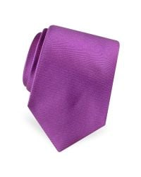 FORZIERI - Purple Solid Pure Silk Satin Silk Tie for Men - Lyst