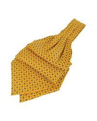 FORZIERI | Yellow Paisley Print Pure Silk Ascot for Men | Lyst