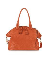 FORZIERI | Orange Woven Leather Bowler Bag | Lyst