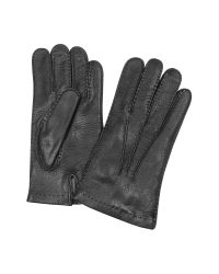 FORZIERI | Men's Cashmere Lined Black Italian Deer Leather Gloves for Men | Lyst