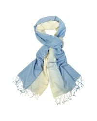 FORZIERI | Blue Two Tone Pashmina And Silk Fringed Shawl | Lyst