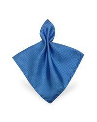 FORZIERI | Blue Mini Polkadot Twill Silk Pocket Square | Lyst