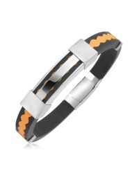 FORZIERI   Orange Rubber And Stainless Steel Bracelet for Men   Lyst