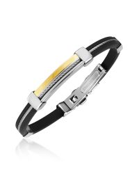FORZIERI - Gray Men's Stainless Steel And Rubber Bracelet for Men - Lyst