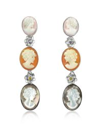 Mia & Beverly - Metallic Cameo Drop Earrings - Lyst
