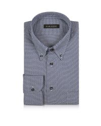 FORZIERI | Blue And White Button-down Woven Cotton Shirt for Men | Lyst