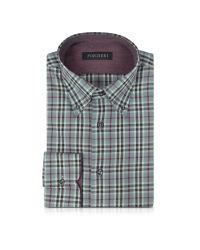 Forzieri - Gray & Burgundy Plaid Cotton Slim Fit Men's Shirt for Men - Lyst