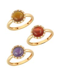 Mia & Beverly - Pink Gemstone And Diamond 18k Rose Gold Ring - Lyst