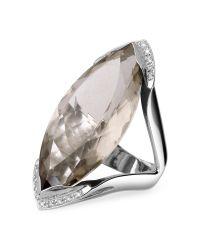 Forzieri | Smokey Quartz And Diamond White Gold Fashion Ring | Lyst