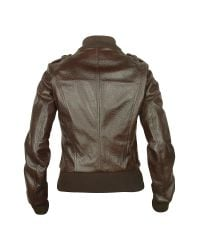 FORZIERI - Women's Dark Brown Lizard Stamped Genuine Leather Jacket - Lyst