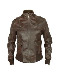 FORZIERI | Women's Dark Brown Lizard Stamped Genuine Leather Jacket | Lyst