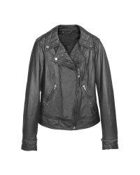 FORZIERI | Black Asymmetric Zip Leather Jacket | Lyst