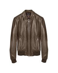 FORZIERI | Dark Brown Leather Bomber Jacket for Men | Lyst