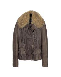 FORZIERI | Dark Brown Asymetrical Zip Leather Jacket | Lyst